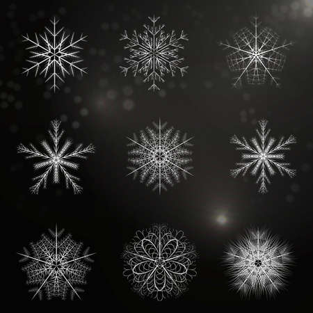 large group of objects: beautiful and unique set of snowflakes. Objects are divided in different groups. Useble as background and design elements for einene backgrounds.