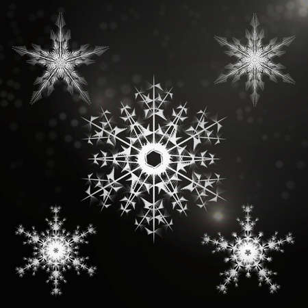 groups of objects: beautiful and unique set of snowflakes. Objects are divided in different groups. Useble as background and design elements for einene backgrounds.