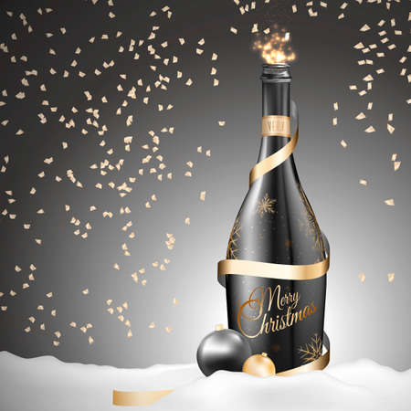uncork: A sensual Illustration for Christmas. Send one to the magical world of Christmas. Designed in contrast gold black colors. Fits congratulations, cards, action ...