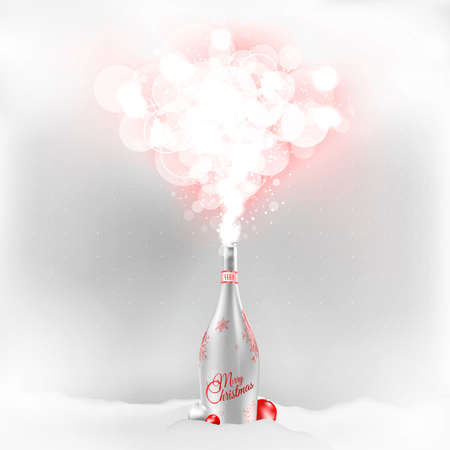 uncork: A sensual Illustration for Christmas. Send one to the magical world of Christmas. Designed in modern pastel silver red colors. Fits congratulations, cards, action ...