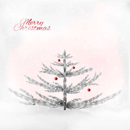 voluptuous: Realistic silver christmas tree on the sensual gray rose background with snowfall. A perfect fit for the print industry, Christmas congratulatory cards, invitations, web banners.