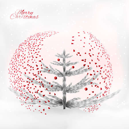 Art silver christmas tree under the modern designed confetti fall. Also a snowfall and christmas balls. Perfect for the print industry, Christmas congratulatory cards, invitations.