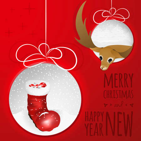 boot print: Abstract Christmas balls cutted from paper on red background with santas boot, balls and deer.  Is ideal for everything from invitation cards to the background suited for print and web products. Stock Photo