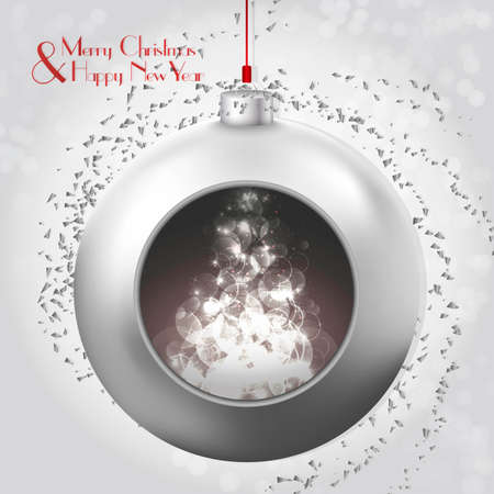 christmas spirit: Christmas Ball with magic glow and confetti. A beautiful modern design that fits perfectly with Christmas cards and Christmas campaigns, print and web products. creates the Christmas spirit