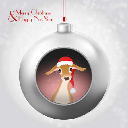 deepening: Christmas Ball with magic glitter and baby deer. A beautiful modern design that fits perfectly with Christmas cards and Christmas campaigns, print and web products.