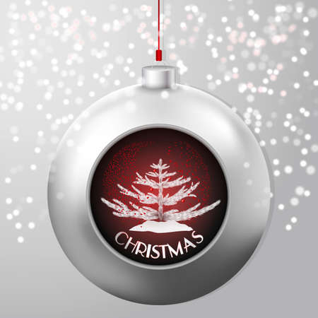 deepening: Christmas Ball with a fir and red confetti storm inside on the chick snowy backdrop. A beautiful modern design that fits perfectly with Christmas cards and Christmas campaigns, print and web products.