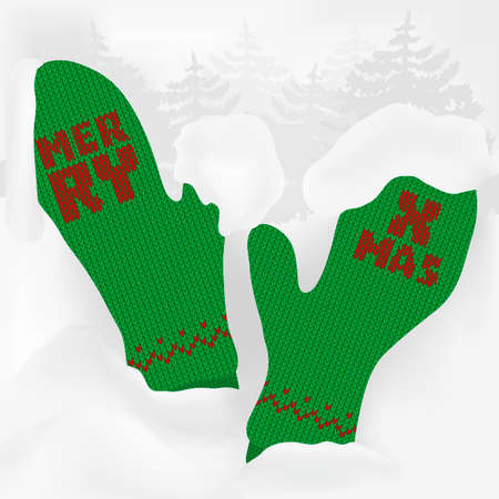 snowdrifts: A trendy Christmas design for market presence with green cuddly knitted mittens, firs and snowdrifts. Is ideal for everything from invitation cards to the background suited for print and web products. Illustration