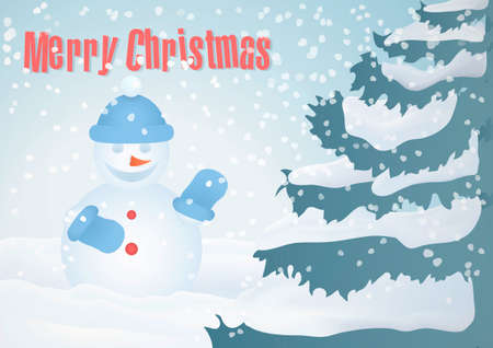 christmas atmosphere: A cute Christmas card with snowman and tree. Puts people in the friendly and cozy Christmas atmosphere. Is perfect for print products. Complies with DIN standard. Illustration