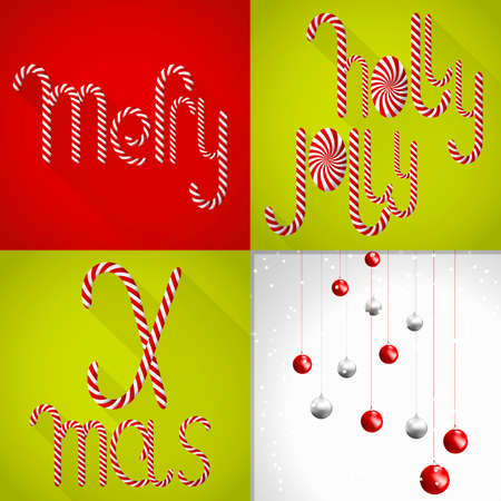 lolli: A chic Christmas card in a contemporary tile design and handmade Lolli font and set of christmas balls.