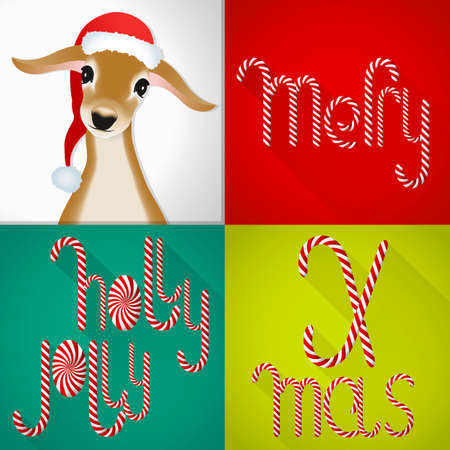 lolli: A chic Christmas card in a contemporary tile design, handmade Lolli font sweet jung deer.