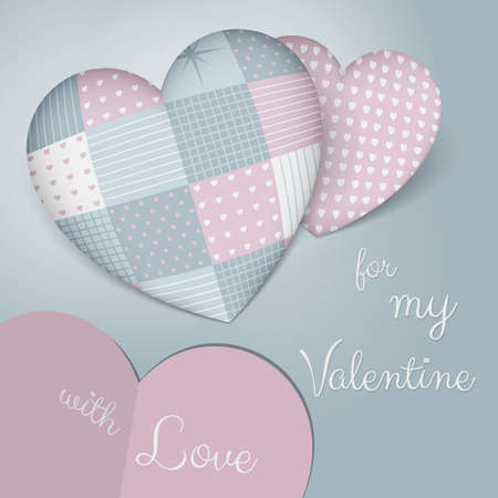 sensual: A beautiful realistic 3D pillows in shape of a hearts maked as patchwork in blue pink tones. Very sensual, tender and romantic. A perfect fit for all products for Valentines Day.