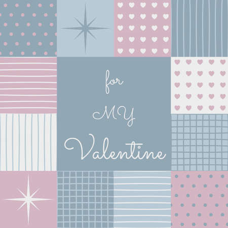 a sensitive patchwork for a Valentines Day. Made in pastel blue and pink tones. Collection of pattern. Composition with the template surface in the middle. Illustration