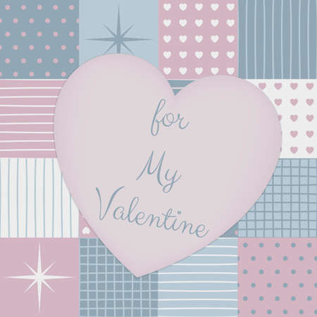 a sensitive patchwork for a Valentines Day. Made in pastel blue and pink tones. Collection of pattern. Composition with the template surface in shape of heart in the middle.