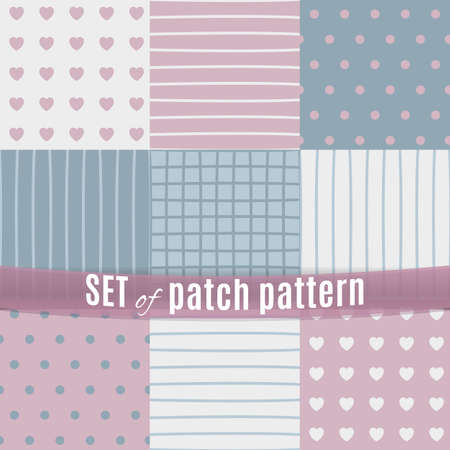 a sensitive set of nine seamless patch patterns. Made in pastel blue and pink tones.