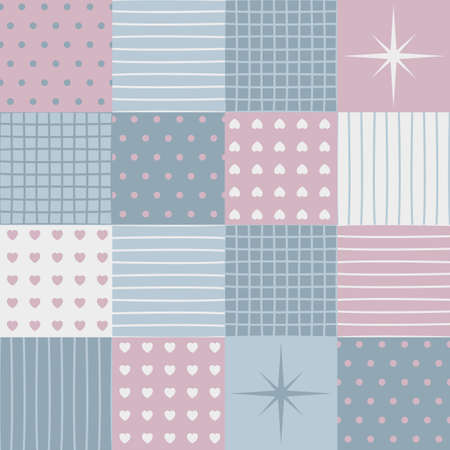 darning: a sensitive patchwork for a Valentines Day. Made in pastel blue and pink tones. Collection of pattern.