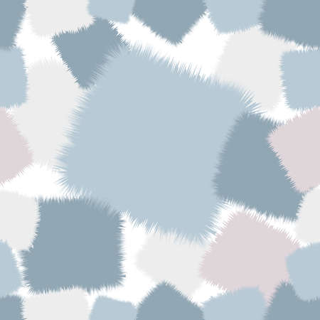 darning: a trendy shaggy patchwork. Made in pastel blue and pink tones. Seamless pattern. Illustration