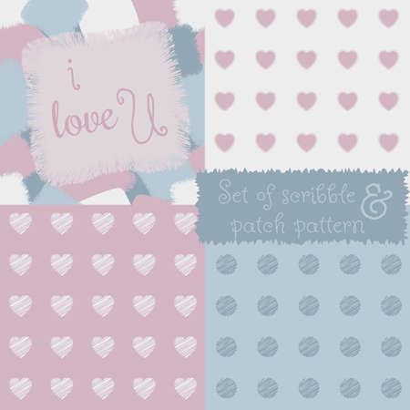 A sensitive set of four seamless shaggy patch and scribble pattern. Made in pastel blue and pink tones. Fits perfectly for creative solutions in the textile and print production. Illustration