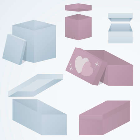 Set of open and closed 3d gift boxes packaging in different perspectives and shapes, gradient fill. Sensual blue and pink colors. celebration template.
