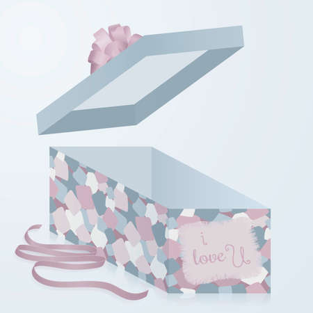 sewn: A template gift box with patchwork texture, 3d. Trendy, fancy  and comfortable to use. Very sensual, tender and romantic. Fit for all products for Valentines Day.