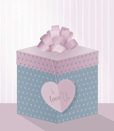 illustration for Valentines Day with 3D gift box, pattern, realistic ribbon and shadows. Designed in pastel blue pink colors, retro style. Perfect for love letter, anniversaries and print products. Illustration