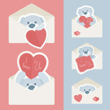 Vector vintage envelope with teddy bear and shapes of paper, carried out as stickers. In Retro colors and modern flat design. Perfect for declarations of love and Valentines Day