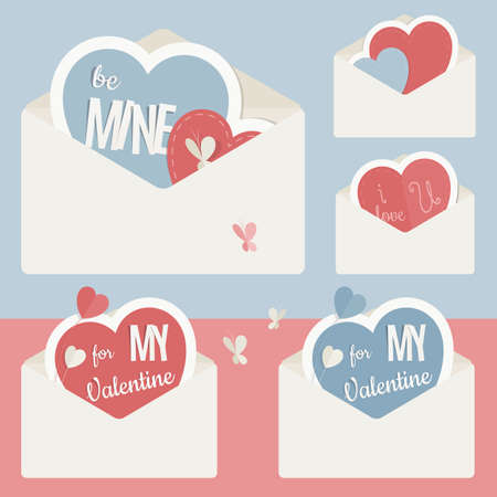 Vector vintage envelope with heart and shapes of paper, carried out as stickers. In Retro colors and modern flat design. Perfect for declarations of love and Valentines Day