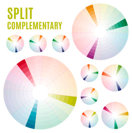 applicable: Psychology of color perception. Harmonies of colors. Basic Split complementary set Part 3. Representation in pie charts with the applicable pallets.