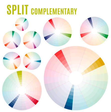 complementary: Psychology of color perception. Harmonies of colors. Basic Split complementary set Part 2. Representation in pie charts with the applicable pallets.