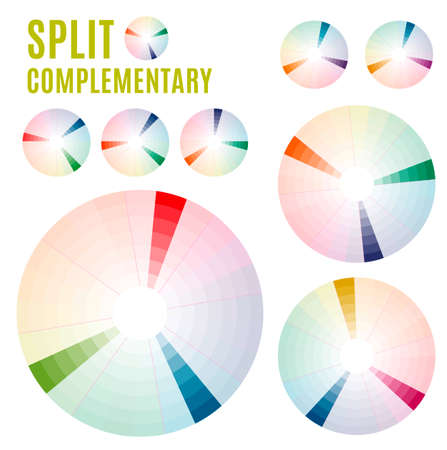 complementary: Psychology of color perception. Harmonies of colors. Basic Split complementary set Part 1. Representation in pie charts with the applicable pallets.