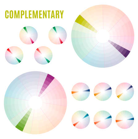 applicable: Psychology of color perception. Harmonies of colors. Basic Complementary set. Representation in pie charts with the applicable pallets.