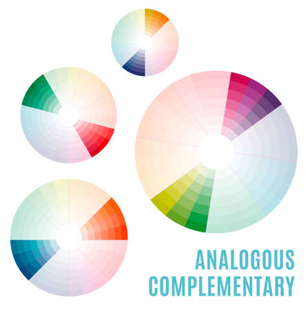 applicable: Psychology of color perception. Harmonies of colors. Basic Analogous complementary set. Representation in pie charts with the applicable pallets.