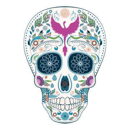 Dia de Muertos. Ilustración del cráneo tradicional mexicana con un montón de adornos y Phoenix hasta el día de los muertos. Colorido complementaria. Ilustración del vector