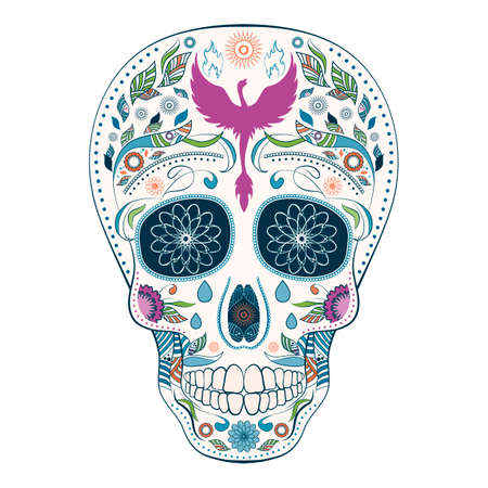 Dia de Muertos. Illustration of traditional Mexican skull with lots of ornaments and Phoenix to the Day of The Dead. Colorful complementary. Vector Illustration