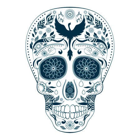 Dia de Muertos. Illustration of traditional Mexican skull with lots of ornaments and Phoenix to the Day of The Dead. Dark blue and white colors. Vector Illustration Illustration