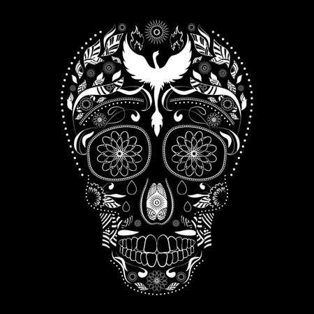 Dia de Muertos. Illustration of traditional Mexican skull with lots of ornaments and Phoenix to the Day of The Dead. Black white colors. contour. Vector Illustration Illustration