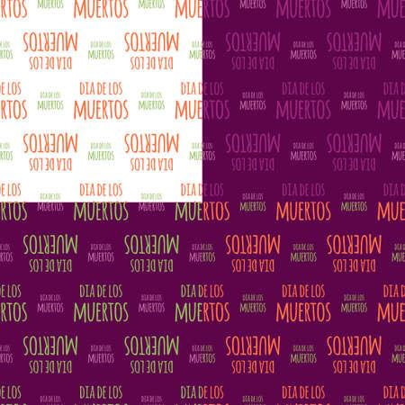 fond de texte: Dia de Muertos - jour mexicain de la décoration de texte mort espagnol ensemble. seamless fond coloré défini.