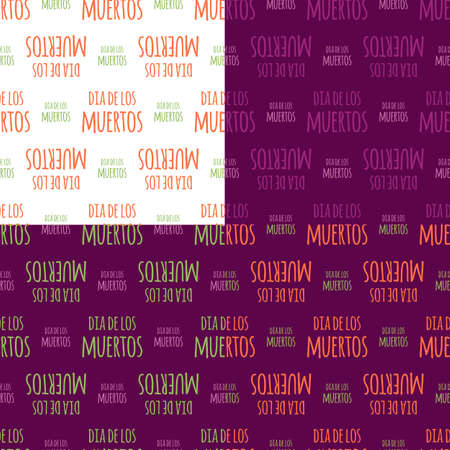 fond de texte: Dia de Muertos - Mexican Day of the death spanish text decoration set. Colorful background seamless pattern set.