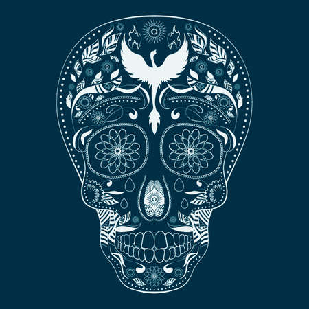 all saint day: Dia de Muertos. Illustration of traditional Mexican skull with lots of ornaments and Phoenix to the Day of The Dead. Dark blue and white colors. Vector Illustration Illustration