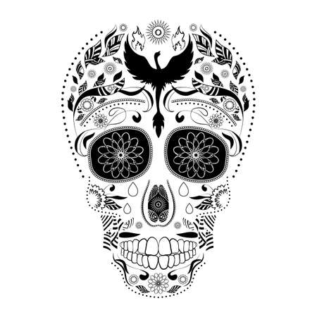 all souls' day: Dia de Muertos. Illustration of traditional Mexican skull with lots of ornaments and Phoenix to the Day of The Dead. Black white colors. contour. Vector Illustration Illustration