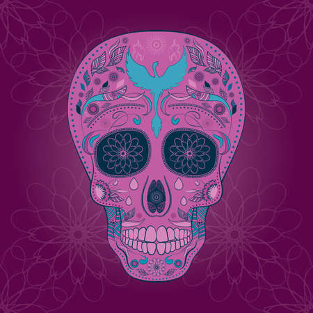 all souls' day: Dia de Muertos. Illustration of traditional Mexican skull with lots of ornaments and Phoenix to the Day of The Dead. Colorful in analougus pink and blue. contour. Seamless pattern. Vector Illustration