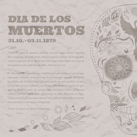 Vintage Poster for Dia de Muertos on the old damaged paper. Illustration of traditional Mexican skull with lots of ornaments and Phoenix to the Day of The Dead. Retro brown colors. Vector Illustration Illustration