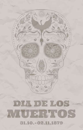 all souls day: Vintage flyer for Dia de Muertos on the old damaged paper. Illustration of traditional Mexican skull with lots of ornaments and Phoenix to the Day of The Dead. Retro brown colors. Vector Illustration