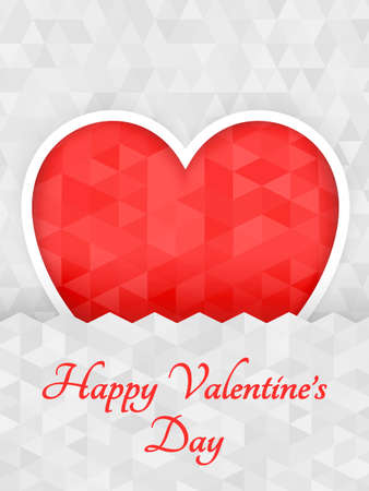white day: Red polygon origami heart on white background paper cut. Illustration. Abstract polygonal heart. Love symbol. Romantic background or card for Valentines day.  Illustration