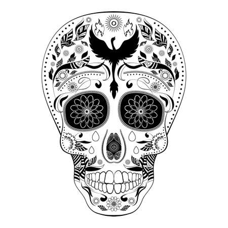 all saint day: Dia de Muertos FULL. Illustration of traditional Mexican skull with lots of ornaments and Phoenix to the Day of The Dead. Black white colors. contour. Illustration