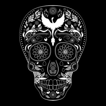 Dia de Muertos FULL inverse. Illustration of traditional Mexican skull with lots of ornaments and Phoenix to the Day of The Dead. Black white colors. contour. Illustration
