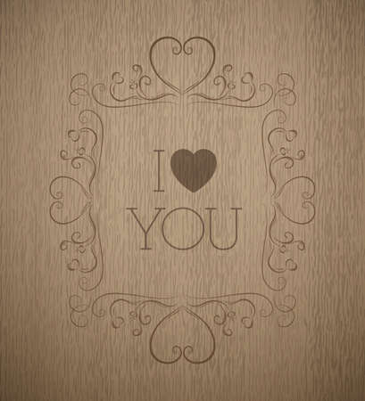 timber cutting: a detailed realistic structure of wood. Brown Colour. Vintage. Valentines day. Monogram. Fits perfect for vintage and retro style or design. Illustration