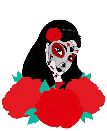 dia de los muertos: a beautiful sugar skull woman in a death mask and with roses. Dia de los Muertos. Illustration for Day of the Dead