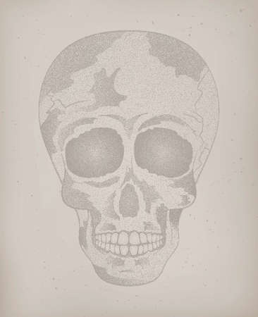 sapiens: Vector of cool vintage human skull on the old paper texture background with halftone effect to the Day of The Dead. Poster, card. Contour. Vector Illustration
