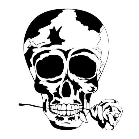 homo sapiens: Vector of cool human tattoo skull with rose in the mouth, shadows in black and white colors to the Day of The Dead. Line art, contour. Vector Illustration