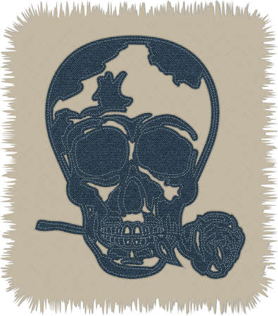 fancywork: A cool skull shape made of blue denim jeans texture. skull with rose in the mouth. fancywork. Realistic vintage and retro stuff.
